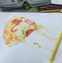 披萨彩铅画图片 披萨彩铅手绘教程 披萨彩铅怎么画 披萨彩铅画法
