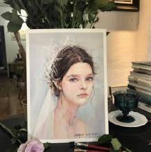 浪漫唯美的婚纱新娘水彩画图片 新娘子水彩手绘教程 新娘怎么画 画法