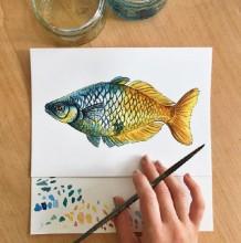 漂亮的海洋小鱼水彩画图片作品 各种好看的小鱼水彩画