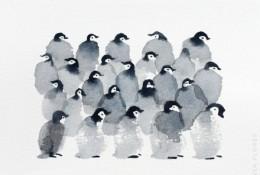 简单可爱的小企鹅水彩画图片 优秀企鹅水彩作品 简单的企鹅画法