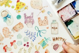 各种可爱的水彩小物件素材图片 小清新简单清新手账小物水彩图片