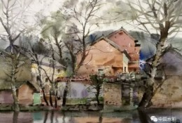 婺源水彩写生作品欣赏 古建筑风景写生图片素材