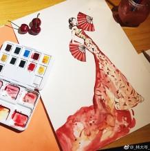 拿着红扇子身穿红色旗袍的古典女人水彩画手绘教程图片
