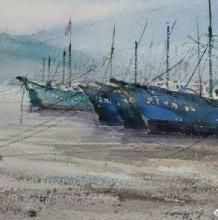 小鱼港渔船风景水彩画 渔船水彩手绘教程 简单渔船的画法