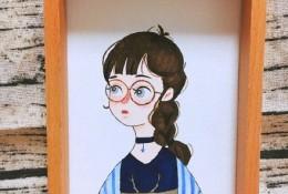 戴眼镜的小姐姐清新插画马克笔上色手绘教程图片 眼睛女生带步骤和演示