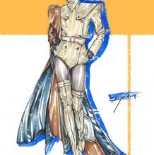 双排扣外套时装设计效果图手绘教程 马克笔上色详解 过程步骤