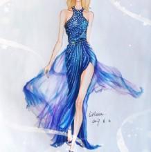 蓝色轻薄纱质彩铅礼服时装效果图手绘教程步骤 彩铅上色效果画法