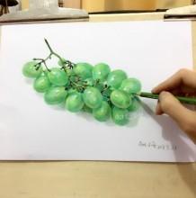 立体逼真3D感很强的葡萄彩铅画图片 葡萄彩铅手绘教程画法步骤