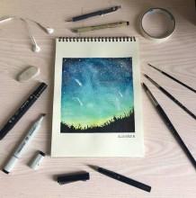 迷人的浩瀚星空水彩插画风景图片 简单清爽的星空水彩画图片