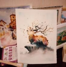 唯美有意境的小鹿水彩画 奇幻风格小鹿水彩画 鹿角是创意