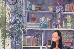 午后阳光下在书房喝咖啡看书的安静女生唯美意境水彩画插画手绘教程图片