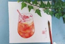 夏天冰镇水果饮料水彩画图片 一杯冰镇饮料水彩画手绘教程