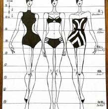 10头身人体比例结构详解展示图片 时装效果图人物身体比例 泳装比基尼