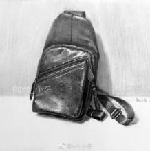 时尚皮革单肩背包素描画图片 皮质单肩包素描手绘教程画法
