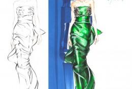 时装设计效果图丝绸面料服饰马克笔手绘表现图片教程 马克笔搭配油性彩铅