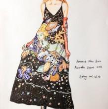 性感吊带长裙时装设计效果图马克笔手绘教程带线稿