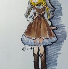 站着的小萝莉插画人物马克笔手绘教程图片 带草图/线稿和上色图