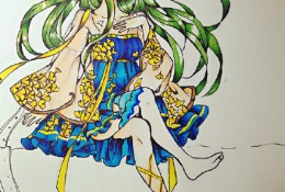 坐着的可爱小萝莉插画图片马克笔手绘教程 带线稿/草稿和上色