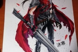 男性动漫英雄角色形象马克笔手绘插画教程图片 身穿披风手拿长枪