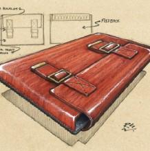 马克笔皮革材质表现教程 皮革公文包马克笔手绘教程图片