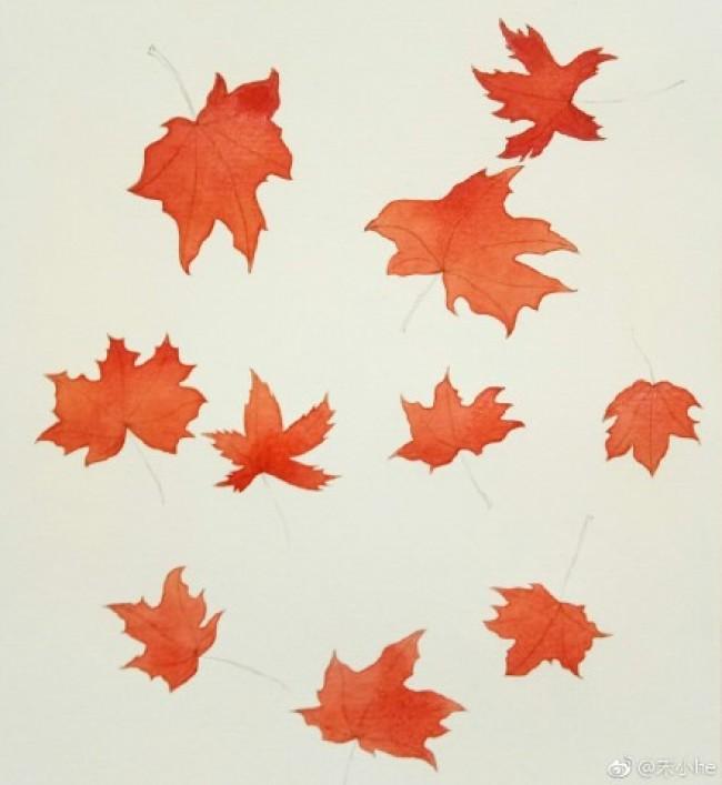 秋叶水彩画图片 秋天树叶水彩画手绘教程 枫叶落叶水彩画怎么画 画法