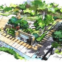 沙沛经典建筑景观效果图马克笔手绘图片 沙沛马克笔手绘效果图图片