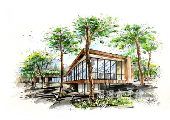 建筑景觀室內馬克筆效果圖表現圖片 謝國威手繪