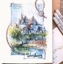 带上马克笔去旅行 马克笔建筑风景手绘表现专辑 效果图图片