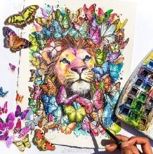 色彩艳丽奇幻风动物水彩插画图片作品 唯美有意境