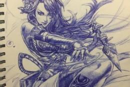 王者荣耀女性角色圆珠笔手绘作品图片 精美圆珠笔女性插画作品图片