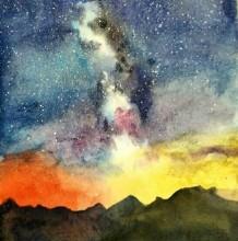 唯美有意境的星空水彩画专辑 浪漫的夜晚星空水彩画手绘教程 夜晚的天空