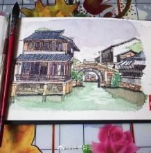 钢笔和水彩建筑速写写生手绘作品图片 用钢笔和水彩快速建筑风景手绘