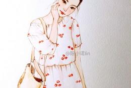 白色连衣裙斜挎包丸子头时尚气质女生水彩插画图片手绘教程画法