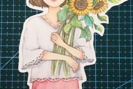 抱着向日葵的温柔女生唯美水彩插画图片手绘教程画法