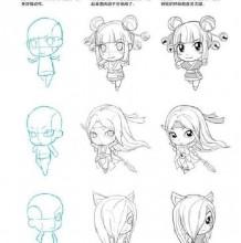 女生Q版人物漫画的画法 比例结构讲解展示 Q版漫画人物怎么画
