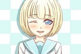 可爱害羞女生漫画插画图片手绘教程 害羞眨眼间水手服波波头小女生插画