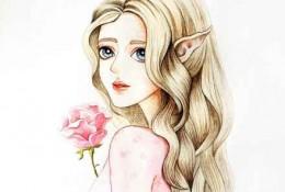 气质精灵般女生彩铅画图片 水灵的精灵女神彩铅手绘教程画法