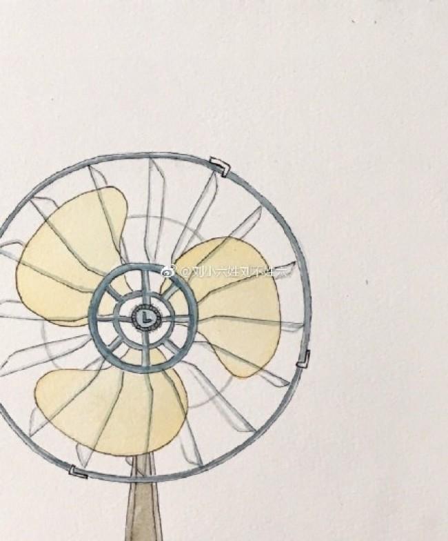 老式复古电风扇水彩画图片 老式电风扇手绘教程图片 老式电风扇怎么画图片