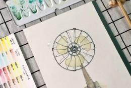 老式复古电风扇水彩画图片 老式电风扇手绘教程图片 老式电风扇怎么画画法