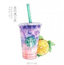 星巴克咖啡甜品水彩画图片 星巴克饮料水彩手绘 星巴克星冰乐蛋糕画法