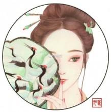 超美古风女子水彩画图片素材 美艳古代女子水彩头像图片