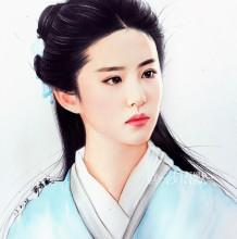 古装明星刘亦菲彩铅画图片 超美仙女刘亦菲彩铅手绘教程 刘亦菲怎么画画法