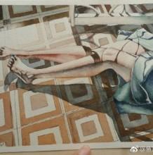 光感很好的性感女生腿部裙子水彩画图片 美丽的腿水彩手绘教程 画法