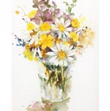 插在透明玻璃花瓶里的鲜花水彩画图片 鲜花水彩手绘教程 怎么画 画法