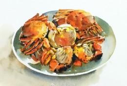 煮熟的大闸蟹美食水彩画图片 螃蟹水彩手绘教程 美味螃蟹怎么画 画法