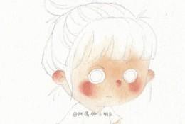 可爱生气的小女生水彩画图片 生气瞪眼睛的Q版女生水彩手绘教程 画法