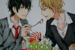 同人插画马克笔上色手绘教程步骤图片 帅哥喂食蛋糕画面 基情