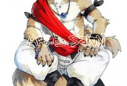狗狗拟人状态动漫插画手绘图片 马克笔上色人物化的狗狗插画图片