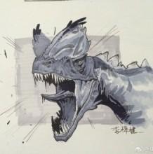 凶猛恐龙马克笔上色图片 带线稿和马克笔上色图 恐龙插画图片