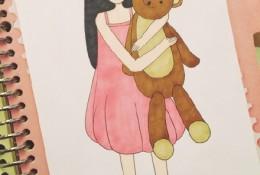 抱着玩具熊的女孩简笔插画图片 马克笔简单温暖的女孩手绘教程画法